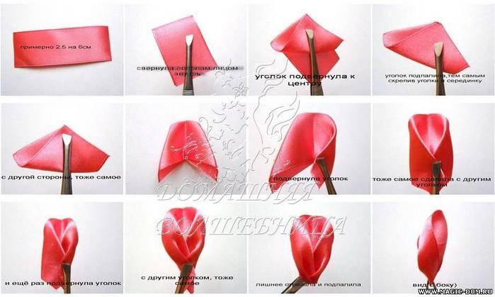 Как сделать цветок канзаши из атласной ленты