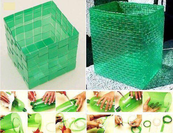 Как плести корзины из пластиковых бутылок своими руками
