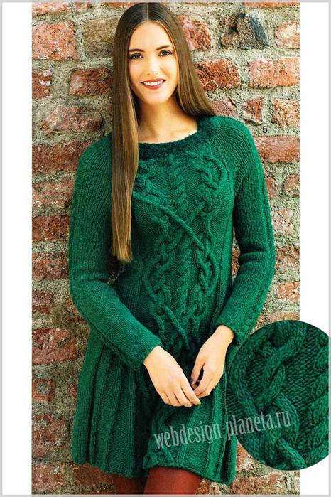 zelenoe-plate-spitsami-s-originalnymi-kosami-foto (466x700, 428Kb)