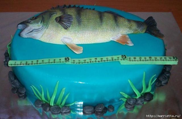 Подарок рыбаку - торт с ОКУНЕМ из мастики (13) (640x420, 117Kb)