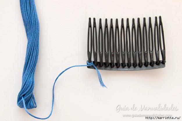 Декорирование гребешка для волос нитками мулине (2) (626x417, 140Kb)