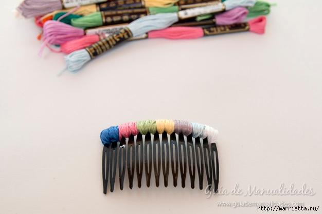 Декорирование гребешка для волос нитками мулине (5) (626x417, 108Kb)