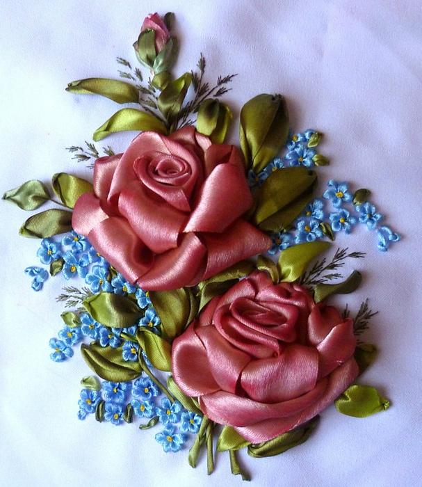 Вышивка лентами шикарные розы 401
