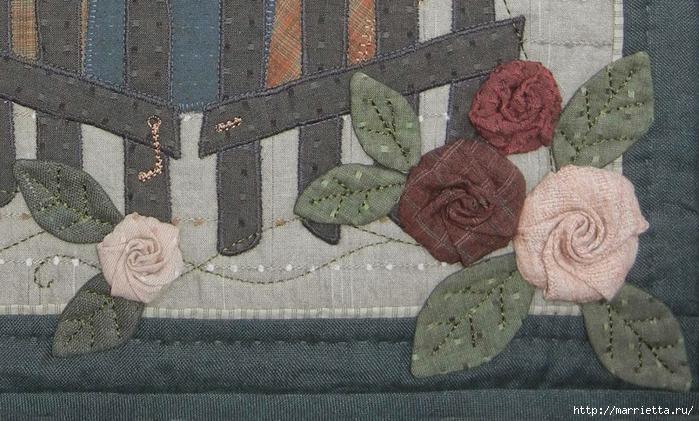Текстильное панно с цветами из ткани (4) (700x421, 285Kb)