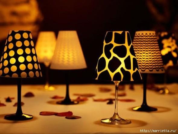 Candelabros para una noche romántica de vasos de vino (17) (590x444, 134Kb)