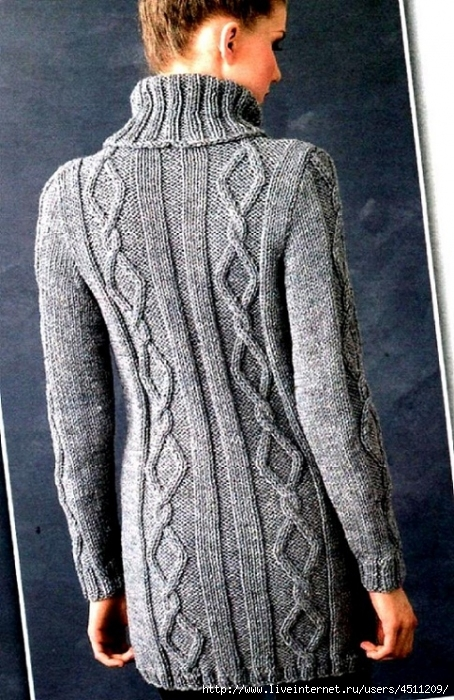 Вязание длинного свитера спицами