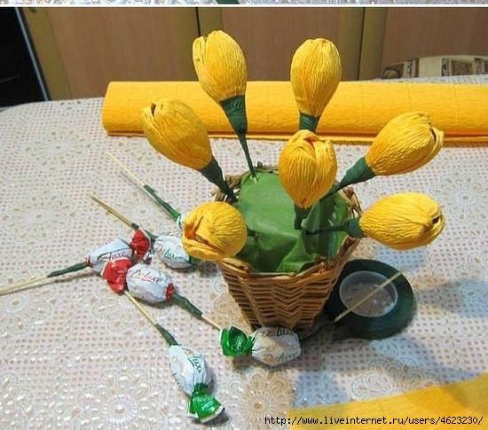 Тюльпаны из конфет своими руками пошаговые фото