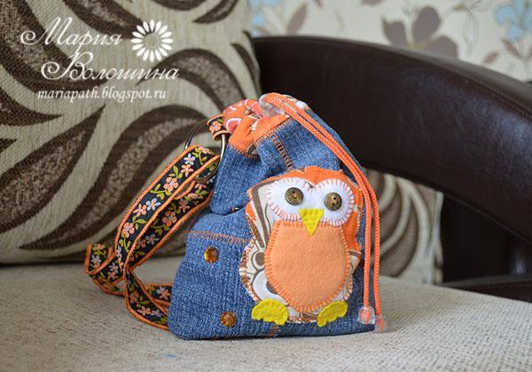 Рюкзак для девочки из джинс