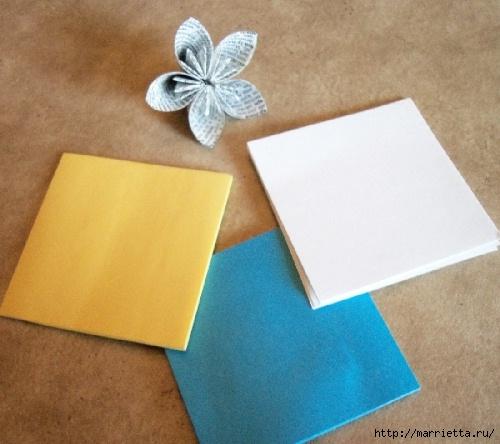 Цветочки оригами для украшения новогодней елочки (4) (500x444, 140Kb)