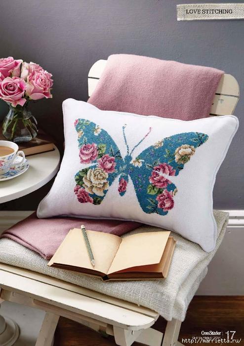 Подушка с вышивкой бабочки. Схемы (2) (494x699, 282Kb)