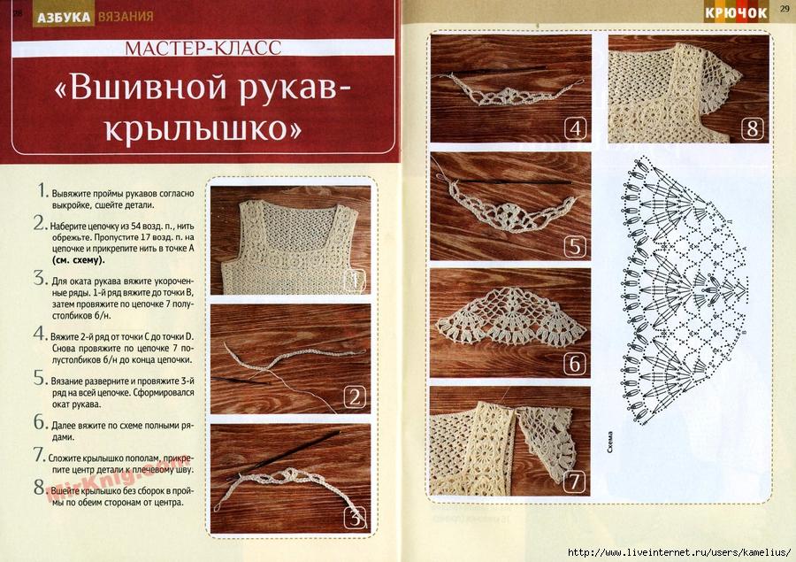 Вязание вшивного рукава крючком 99