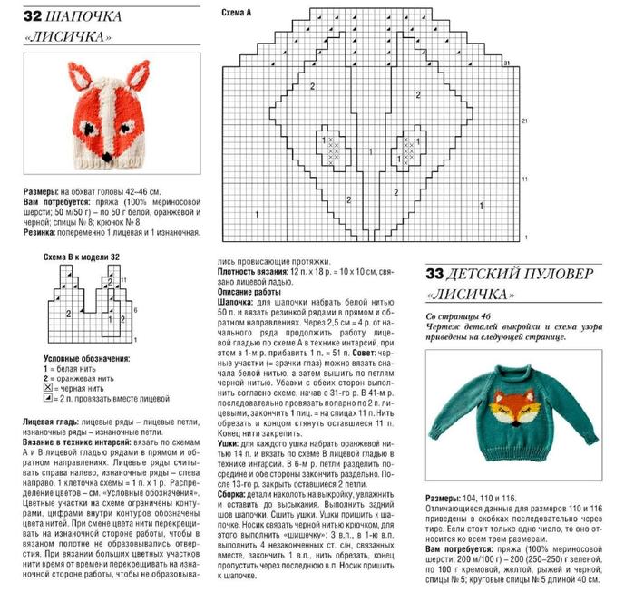 Капюшон хитрый лис схема вязания