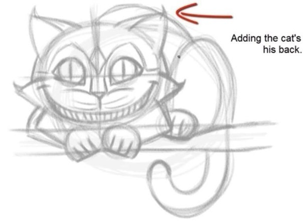 Чеширский кот как рисовать
