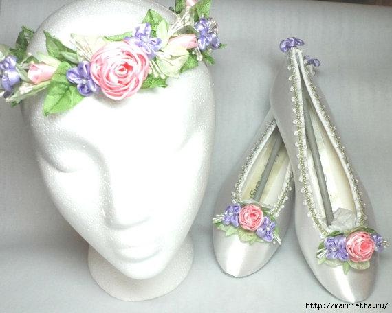 Цветы из ткани для украшения туфелек (2) (570x456, 123Kb)