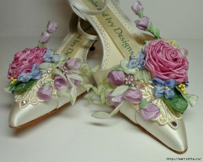 Цветы из ткани для украшения туфелек (32) (700x560, 253Kb)