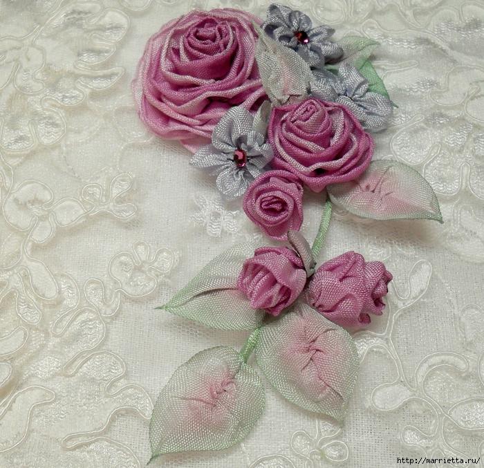 Цветы из ткани для украшения туфелек (35) (700x677, 449Kb)
