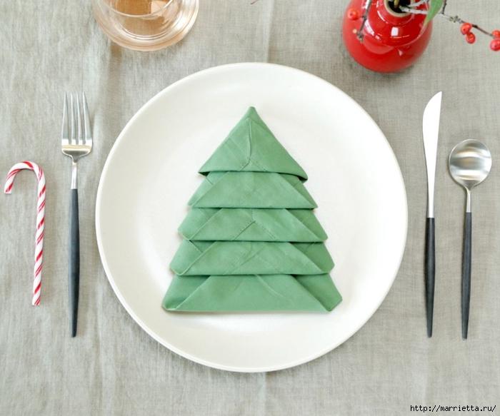 Как сложить салфетку в форме елочки для праздничной сервировки стола (2) (700x583, 226Kb)