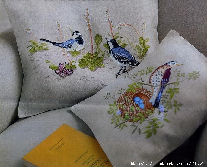 Вышивка крестом подушки с птицами