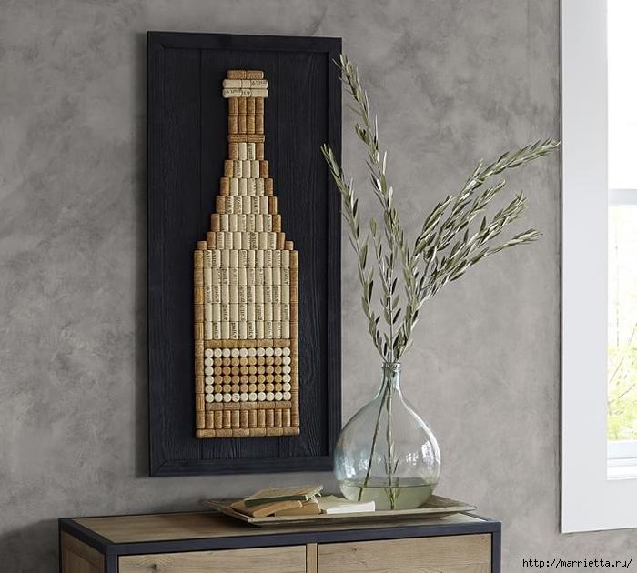 Панно ВИННАЯ БУТЫЛКА из винных пробок (16) (700x630, 248Kb)