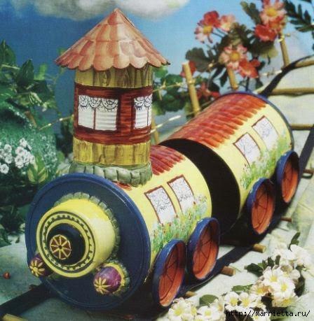 Сказочный паровозик из крышек и железных банок (1) (448x459, 132Kb)