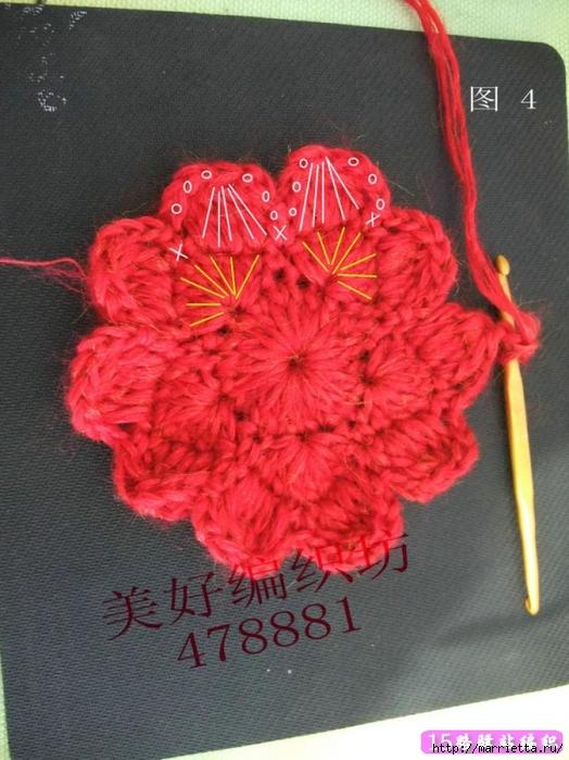 Большой объемный цветок крючком для украшения шапочки (8) (524x700, 285Kb)