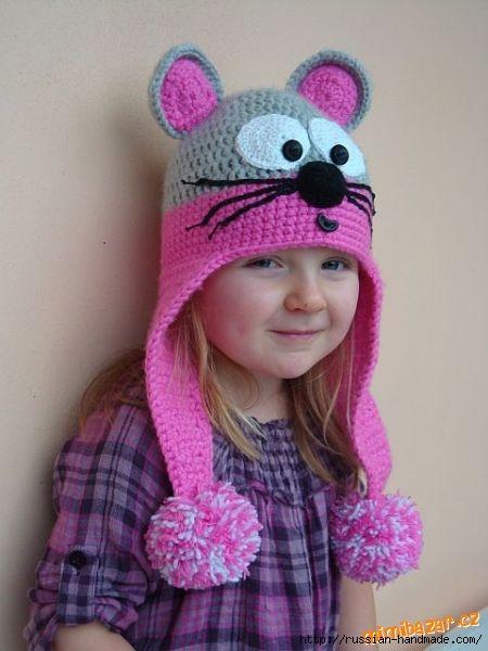 Шапочка МЫШКА с ушками для маленькой девочки (2) (450x600, 119Kb)