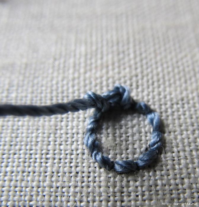 Спиральный шов в вышивке. Два фото мастер-класса (14) (672x700, 339Kb)