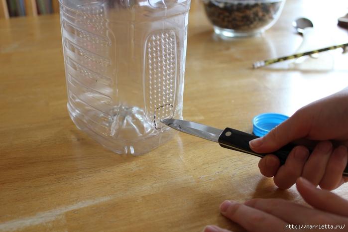 Для птиц. Кормушка из пластиковой бутылки (9) (700x466, 205Kb)