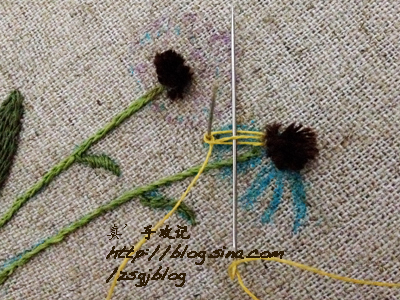 Объемная вышивка ромашек. Фото мк (11) (400x300, 226Kb)