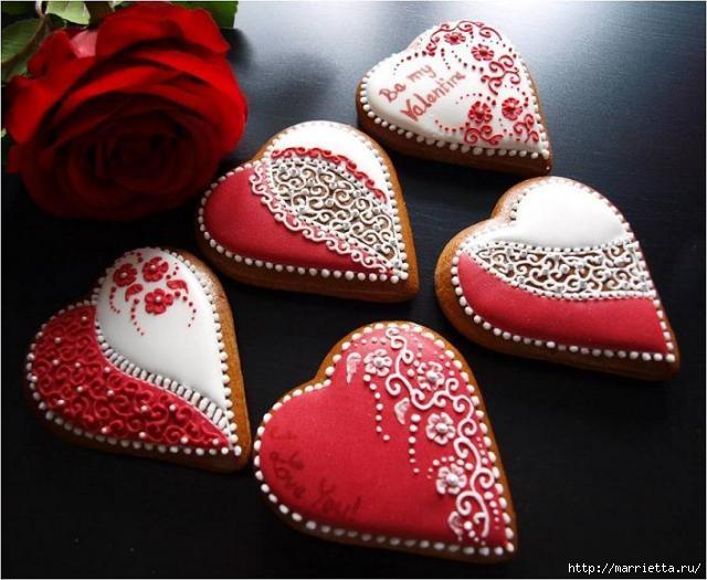 Сердечные пряники ВАЛЕНТИНКИ. Рецепт и красивые идеи (1) (640x525, 169Kb)