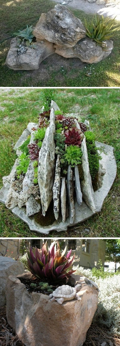 24-Creative-Garden-Container-Ideas-Use-rocks-as-planters-9 (242x700, 241Kb)