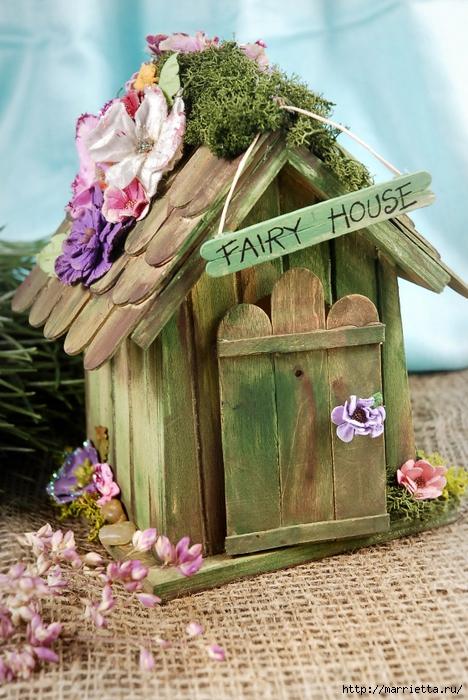 Сказочный домик из палочек от мороженого (468x700, 316Kb)