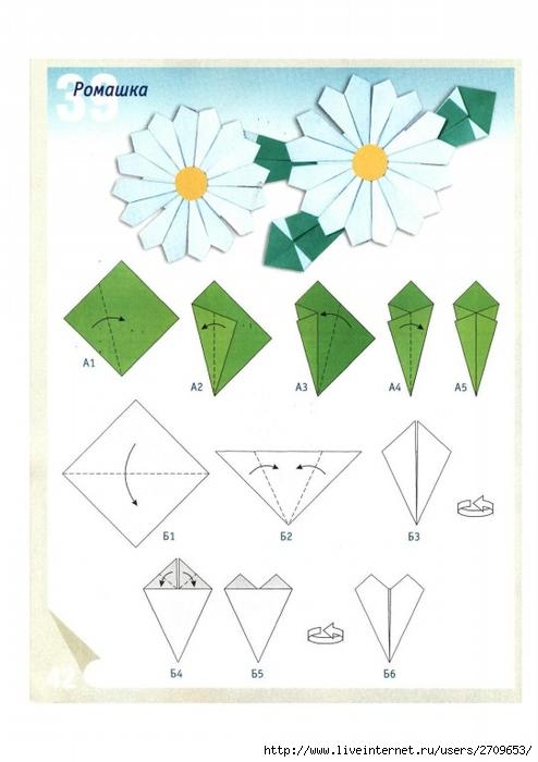 Оригами ромашки из бумаги