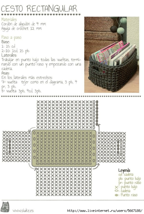 Схема вязания корзинки из трикотажной пряжи крючком 5