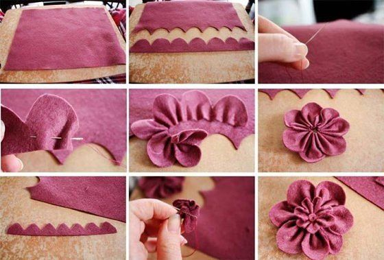 Цветок своими руками из ткани фетра