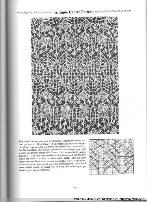 Схема шотландского кружева спицами