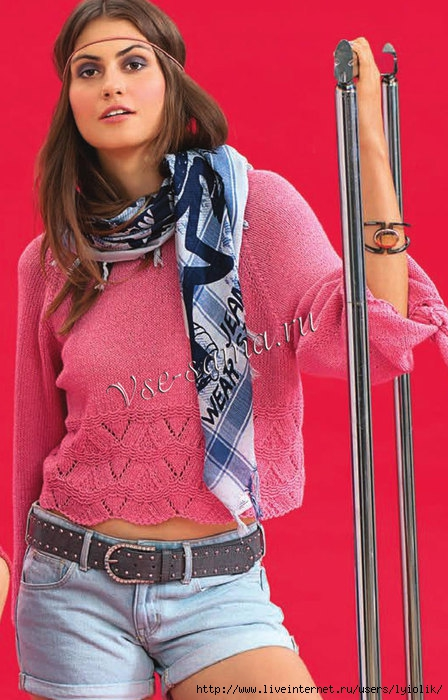 Korotkii-pulover-s-zaviazkami-na-rukavakh-ris (448x700, 220Kb)