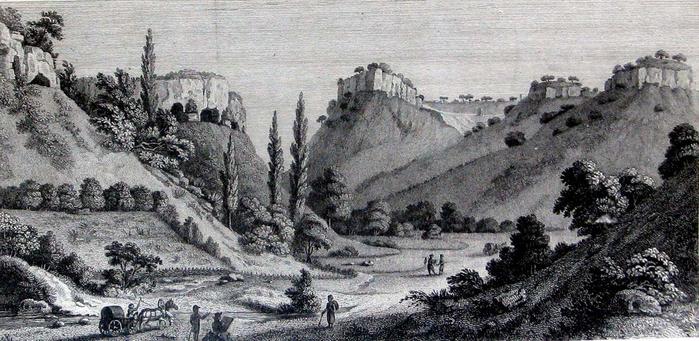 мангуп Гравюра с рисунка А. де Палдо Вид на Мангуп-Кале, XIX в.huf (700x341, 310Kb)