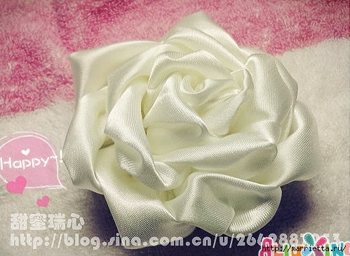 Объемная роза из атласа. Фото мастер-класс (8) (499x366, 146Kb)