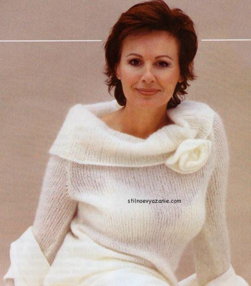 белый свитер спицами - Самое
