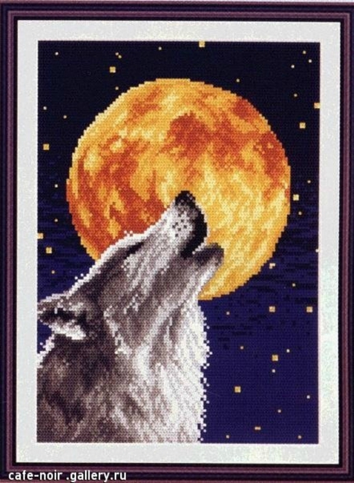 Схема вышивки волков воющих на луну