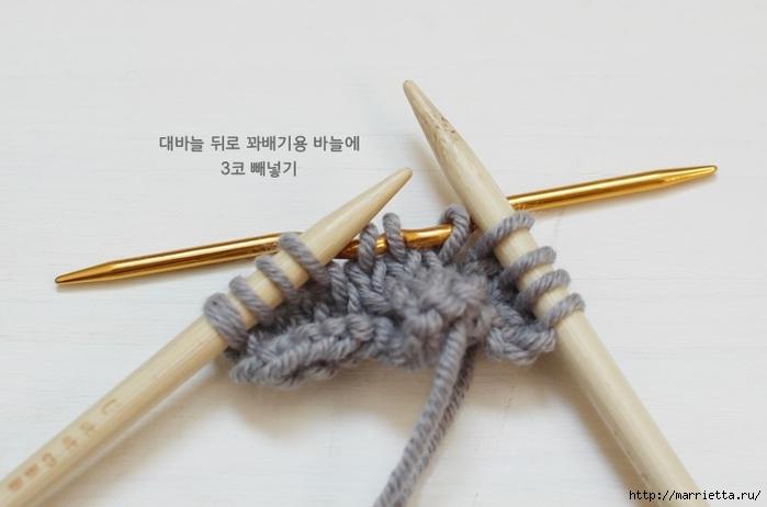 Браслет косичкой спицами. Фото мастер-класс (11) (700x462, 141Kb)