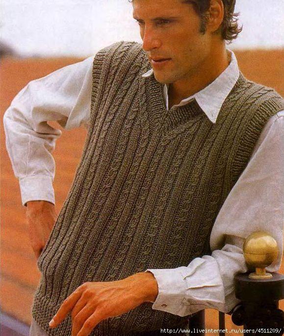 Безрукавка вязание крючком мужская 63