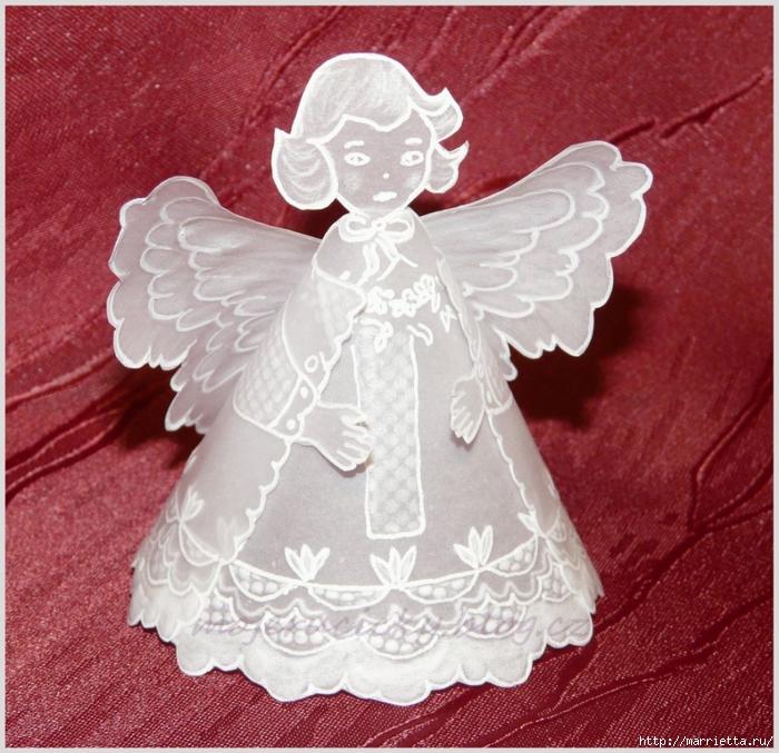 Ангел в технике пергамоно. Шаблон (2) (700x677, 367Kb)