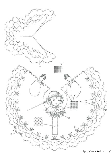 Ангел в технике пергамоно. Шаблон (3) (436x600, 94Kb)