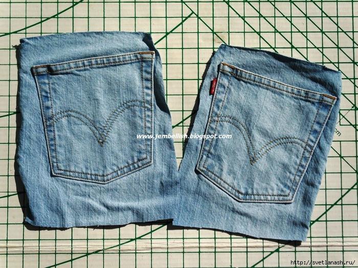 дизайн из джинсовых карманов