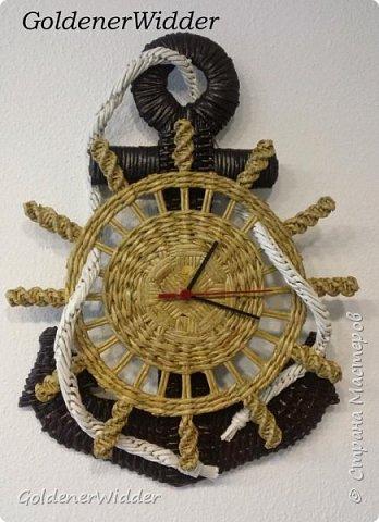 Подарок мужчине. Часы ЯКОРЬ из газетных трубочек (1) (348x480, 140Kb)