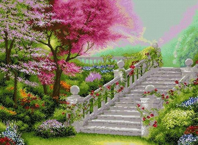 схема небо вышивки в лестница