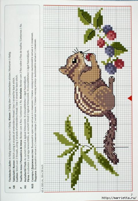 вышивка для скатерти. Птички, белочки, грибочки, листья (40) (479x700, 280Kb)