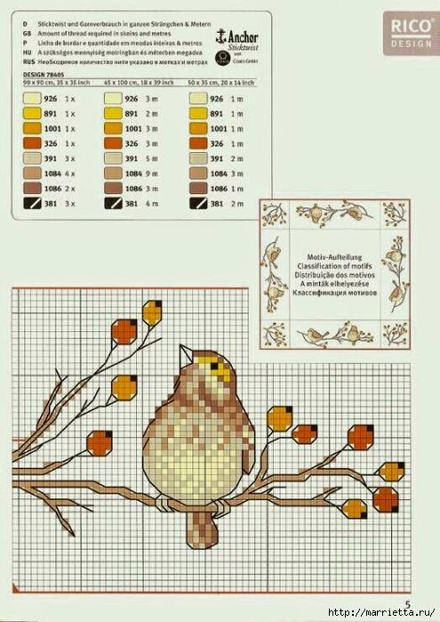 вышивка для скатерти. Птички, белочки, грибочки, листья (44) (495x700, 251Kb)